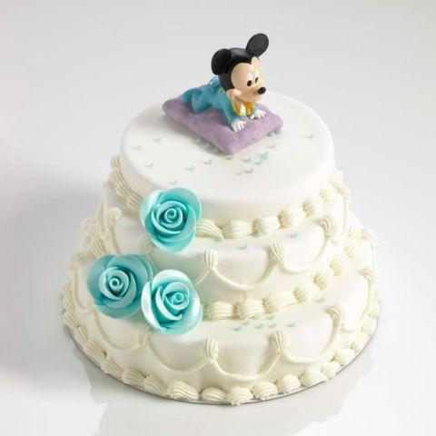 Geboortetaart met beeldje Mickey of Minnie Mouse